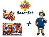 Feuerwehrmann Sam. Feuerwehrauto Bade-Set + Badeschwamm & Schaumbadfigur Spielzeug Badefizzer