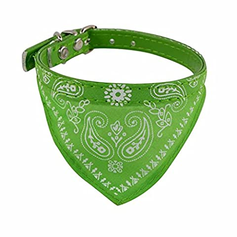 Collier chien réglable Puppy chat Neck Scarf Bandana Collier Foulard (30.5*0.9cm, Vert)