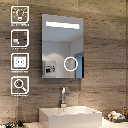 SONNI Design LED Badezimmerspiegel Badspiegel Lichtspiegel mit Schminkspiegel mit Beleuchtung IP44 energiesparend 50 x 70cm
