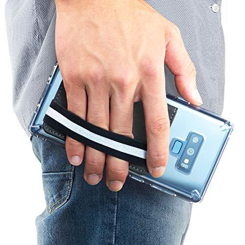Ringke Flip Card Holder Kunstleder Saffiano Handy Kertenetui mit Gummiband [Chic Black] Kartenhülle für Galaxy Note 9, S8 Plus, S8, iPhone X, XS Max, Xr, Huawei P20, Xperia, Pixel, LG, Xiaomi, Usw. (Schwarzer Gummi-iphone Fall 4)