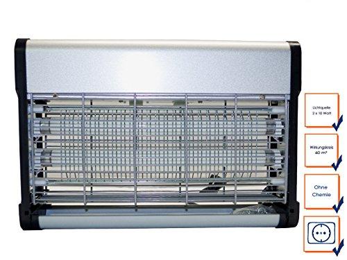 Insetticida professionale, 2x 20w lampade uv, alta tensione fino a 2200v, con montaggio a parete; ggg gc-40w