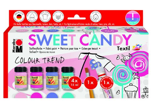 Office-candy (Marabu 171600096 - Colour Trend Sweet Candy, 4 x 15 ml, textilfarben)