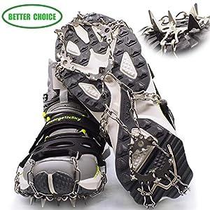 LYSHION Steigeisen, Schuh Spikes Silikon Schneeketten mit 19 Zähne Edelstahl Anti Rutsch Spikes für High Altitude Wandern EIS Schnee