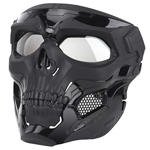 Sensong Paintball Maske mit Schutzbrille Masken Taktische Skull Schutzmaske fur Airsoft Softair Halloween CS Partyspiel Jagd Cosplay Schwarz