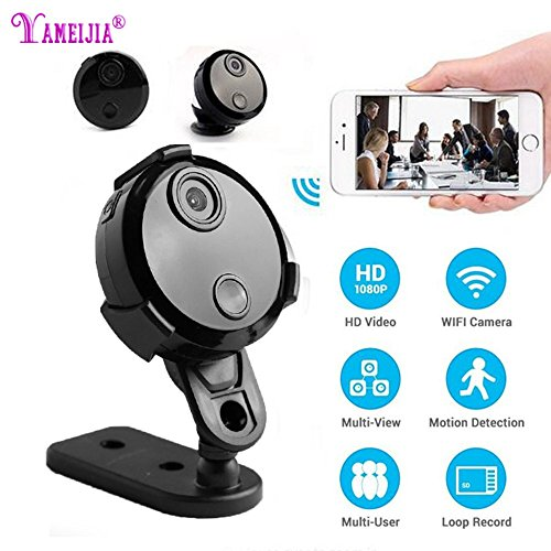 YAMEIJIA Mini Wifi IP-Kamera HD 1080P Infrarot-Nachtsicht Mikro-Netzwerk-Camcorder 150 ° Weitwinkel, Fernüberwachung, Alarm-Prompt, App-Power-Display-Video-Stimme Auto DV Für iPhone/Android Cam (Kamera Für Geheimen Autos)