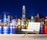 StickersWall Hong Kong City Skyline Wall Mural Photo Wallpaper Picture Self Adhesive 1057 (342cm(W) x 242cm(H))