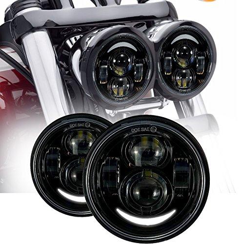 Esyauto LED Rund ein Paar Scheinwerfer 40W 5 Zoll Fernlicht Abblendlicht Fat Bob FXDF Motorradlicht L225;mfür Motorrad Schwarz mit DRL