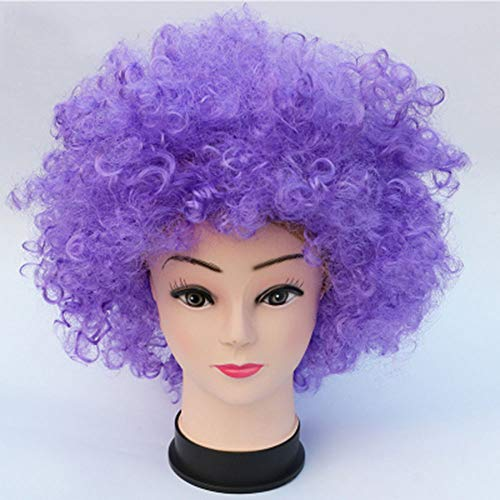 CJY-wig Halloween-Afro-Clown lockiges Zirkus-Haar Bunte Halloween-Kostüm-Perücke Kurze lockige lockige gewellte Perücken 70'S 80'S Retro Disco,A