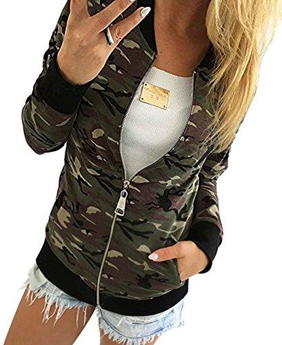 Minetom Femmes Automne Hiver Camouflage Manteau Street Jacket Fashion Ladies Casual Vestes Vert