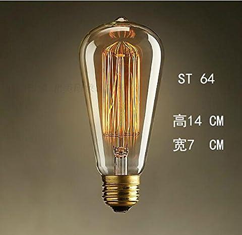 Edison antike Licht E27 Tungsten personalisierte Dekoration engineering Glühlampen, 40, ST 64 Anmelden