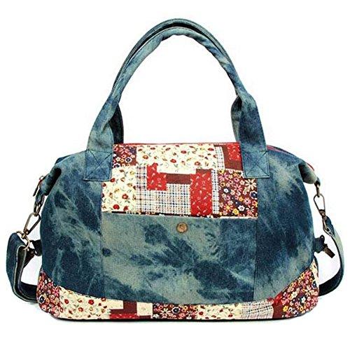 GESIMEI Damen Blume Gemalt Patchwork Schulter Tasche Segeltuch Top-Griff Handtasche (Blau)