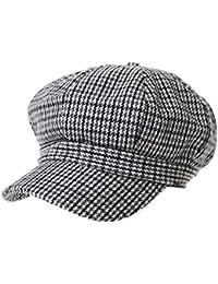 5edaeaf1b29ca WITHMOONS Wool Beret Cap Houndstooth Pattern Bakerboy Visor Hat KR3899