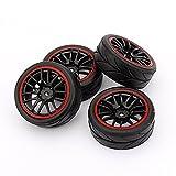 RC Racing YOSOO (TM) 4 Gummiräder für HSP HPI 9068-6081 1/10 Felgen Auto auf der Straße