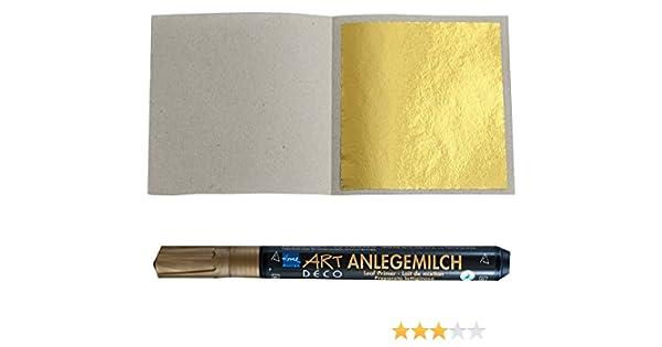Imit. 100 Blatt Blattgold Blattmetall Schlagmetall 4,8 x 4,8 cm zum Vergolden