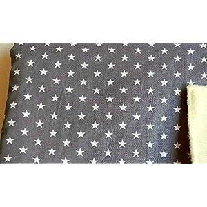 Babydecke - STERNE AUF GRAU - 100 x 70 cm - Baumwolle & Fleece - personalisierbar - Kuscheldecke/Krabbel-Decke für Babybett oder Kinderwagen - Geschenk Geburt Taufe Geburtstag Weihnachten