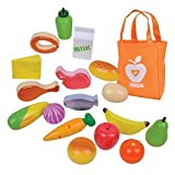 Spiel-Lebensmittel aus holz für Kaufladen oder Spielküche, 18 Stücke mit Einkaufstüte