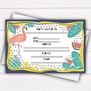 All-Ways Design Tropical Party Invitations Cards - pack of 20 - with envelopes, glossy surface, funny, flamingo exotic birthday celebration hola party