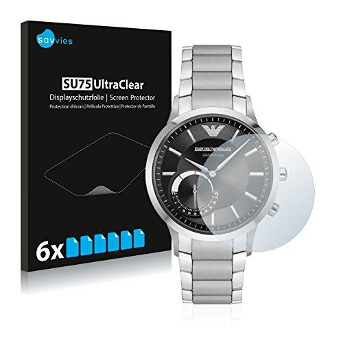 Savvies Schutzfolie für Emporio Armani Connected Smartwatch Hybrid [6er Pack] - klarer Bildschirmschutz