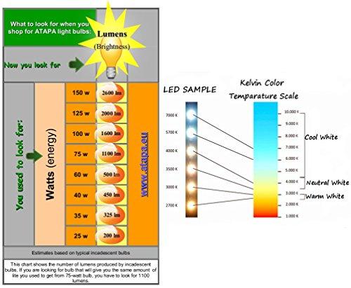 ATAPA 6 x A60 LED Leuchtmittel 7W E27 560 Lumen 270 ° Abstrahlwinkel sehr hell 60 W Ersatz Energiesparlampe Leuchtmittel natur Warm Weiß Farbe Licht Neueste Technologie Energie Klasse A + Lampen für Dusche Badezimmer Küche Wohnzimmer Veranda Home Garten Bibliothek Zubehör - 3