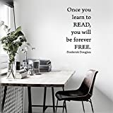 Stickers Muraux Removable Wall Decals Inspirational Vinyl Wall Art Once You Learn To Read, You Will Be Forever Free. Frederick Douglass