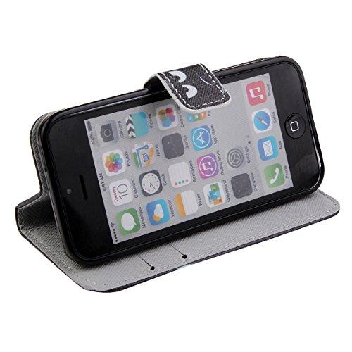 iPhone 5C Hülle, ISAKEN iPhone 5C Hülle Muster, Handy Case Cover Tasche for iPhone 5C, Bunte Retro Muster Druck Flip PU Leder Tasche Case Hülle im Bookstyle mit Standfunktion Kartenfächer mit Weich TP Don't Touch My Phone