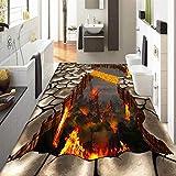 Benutzerdefinierte Bodenbelag Wandbild Tapete Lava Stein Magma 3D Stereoskopischen Boden Aufkleber Malerei PVC Selbstklebende Wasserdichte Tapete 140cm(L) X100cm(W)