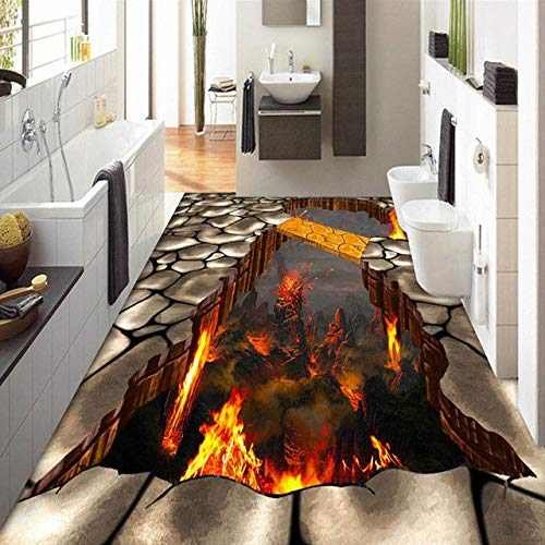 Benutzerdefinierte Bodenbelag Wandbild Tapete Lava Stein Magma 3D Stereoskopischen Boden Aufkleber Malerei PVC Selbstklebende Wasserdichte Tapete 140cm(L) X100cm(W) -