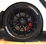 4 x Tire Style Reifenaufkleber - Hankook mit Logo- Farbe: weiß Reifenschrift (18 Zoll)
