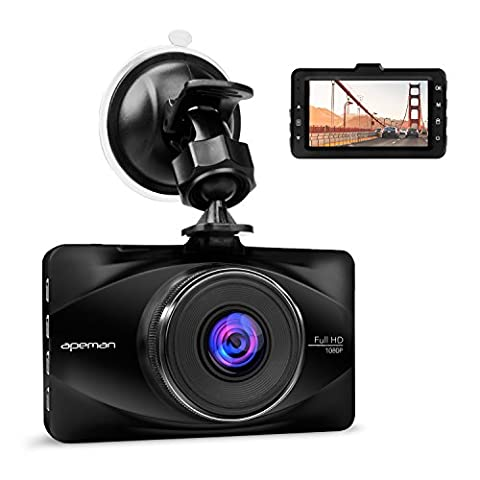 APEMAN In Car Dash Cam 1080P FHD Car Video Recorder 170°Wide Angle WDR Camera with 3 inch LCD Motion Detection Parking Monitor and