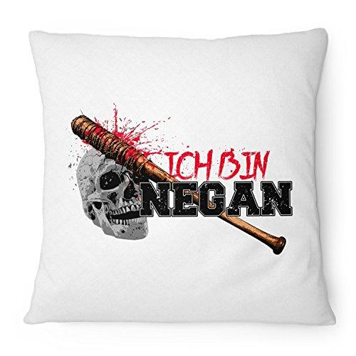 Fashionalarm Kissen Ich bin Negan - 40x40 cm mit Füllung   Geschenk Idee für Fans der Serie T-W-D   Dead Walking Lucille Saviors Baseballschläger, Farbe:weiß