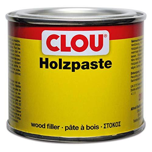 Clou Holzpaste zum Reparieren und Auskitten von Holzschäden natur, 200 g: Holz Spachtelmasse zum Ausbessern von Löchern, Dellen, Rissen in Möbeln, Türen, Parkett und Laminat - gebrauchsfertig - lösemittelbasiert