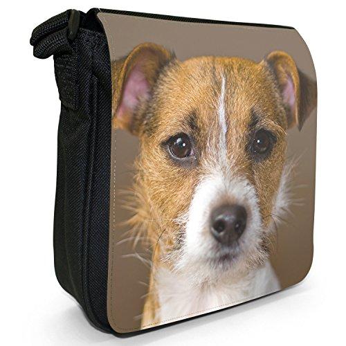 Jack Russell Terrier-Borsa a tracolla in tela, piccola, colore: nero, taglia: S Nero (Portrait Jack Russell Terrier)