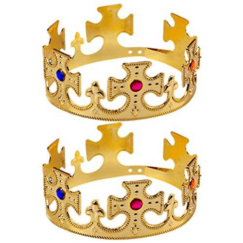 UPKOCH 2 Stücke König Krone Kristall Krone Tiara Prinzessin Haarschmuck Kuchendeko für Damen Männer Kopfschmuck Mädchen Kinder Geburtstag Halloween Party Kostüm - Männer Kostüm Kronen