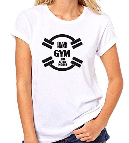 Crazy Sutra Half Sleeve Casual Printed Unisex Boy's/Girl's/Men's/Women's Gym Tshirt |Funky Tshirts [T-TrainHardGymOrStayHome_S_W]