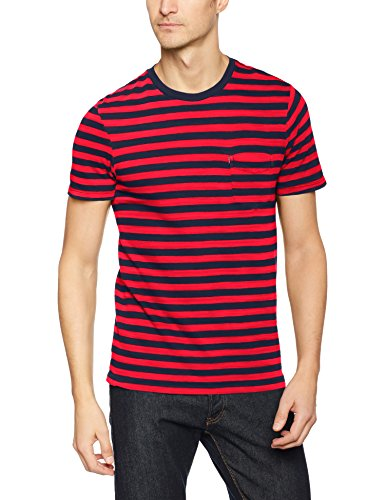 Levi's Herren T-Shirt SS Set-in Sunset Pocket, Blau/Cooler Stripe Chinese Red/Dress Blues 0039, Large (Lieben Es T-shirt Chinesen)