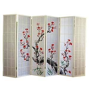 Paravent en bois avec fleur de cerisier blanc de 6 pans -PEGANE-