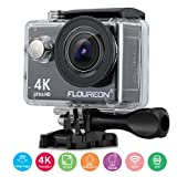 """FLOUREON Sports Action Camera 4K Live Streaming Ultra-HD 2"""" LTPS Screen Waterproof Camcorder 16MP 170°Wide View Angle with 2 Rechargeable Batteries"""