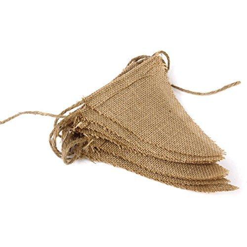 einen Pennant Tringle Vintage Wimpelkette Banner für Weihnachten Hochzeit Party Deko Western Style handgefertigt Zubehör khaki, Leinen, Triangle flag, 1 Stpck (Western-hochzeit Dekoration)