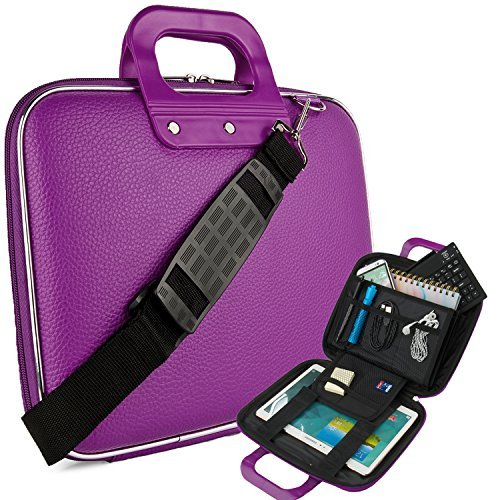 Vegan Leather Ellen Cube Carrying Purple Shoulder Bag w/ Handles For Samsung Galaxy 9.7