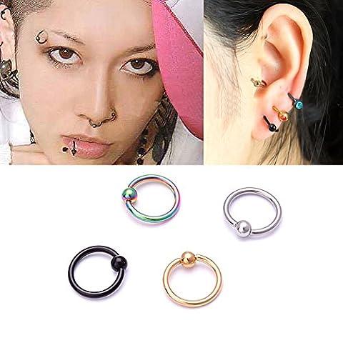 Distinct® 4PCS Acier chirurgical Hoop Anneau Piercing Boule de fermeture pour Lip Ear Nose Sourcils Nipple (Multi Color)