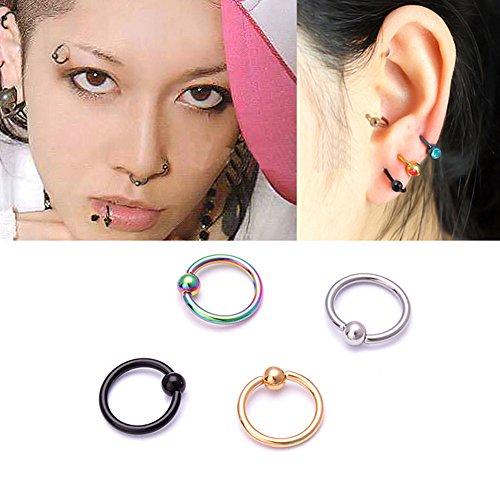 Distinct® 4PCS acciaio chirurgico del cerchio Anello Piercing sfera di chiusura per i capezzoli labbro dell'orecchio naso Sopracciglia (Multi Color)