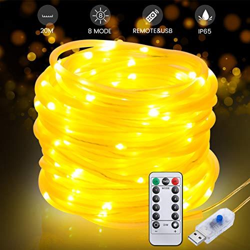 LED Lichtschlauch 20M, AMBOTHER LED Lichterkette 200 LEDs Warmweiß 8 Modi mit Speicherfunktion USB Lichterschlauch mit Fernbedienung IP65 Wasserdicht für Außen Innen Party Bar Weihnachten DIY Deko