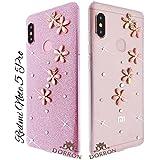 DORRON Glitter Bling Stylish Designer 3D Flowers Soft TPU Fancy Back Case Cover for Xiaomi Redmi Note 5 Pro (Pink_Flower)