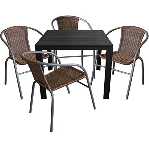 5tlg. Gartengarnitur Aluminium Gartentisch 90x90cm mit Polywood ...
