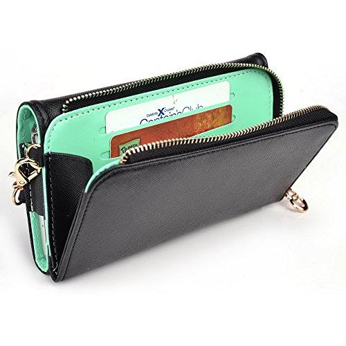 Kroo d'embrayage portefeuille avec dragonne et sangle bandoulière pour Blu Life One Black and Green Black and Green