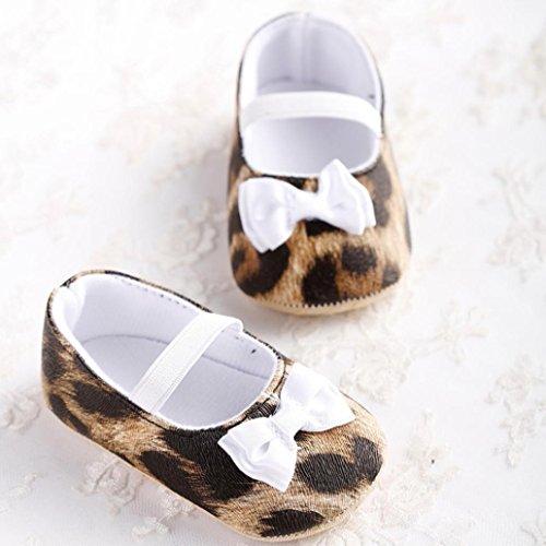 Chaussures de bébé,Transer ® Bewborn bébé filles Leopard Bowknot coton doucement semelle chaussures Flats doux Marron