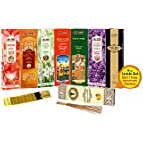 SLM Floral Range of Flowers Rose, Chandan, Tuberose, Kasturi, Musk, Lavender Black King +1 More AYUERVEDA Masala Incense Total 8 Boxes