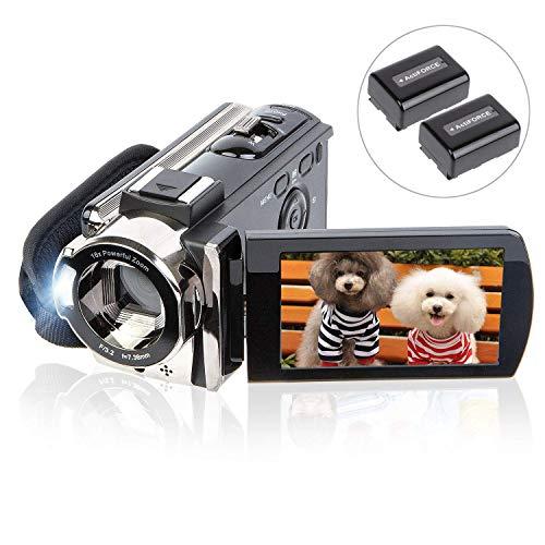 """Camcorder Videokamera UGOOD 1080P 24MP HD Videokamera 16X Digitalen Zoom 3"""" LCD 270 Grad Gedreht Werden Bildschirm Vlog Kamera für YouTube oder Blogger, 2 Akkus"""