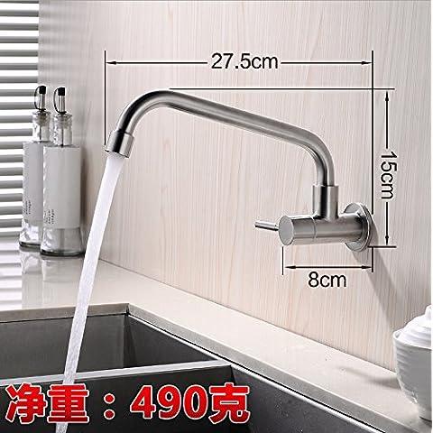 ODJG Fare clic su freddo montato a parete lavello in acciaio inox singolo rubinetto fredda per ruotare il rubinetto,
