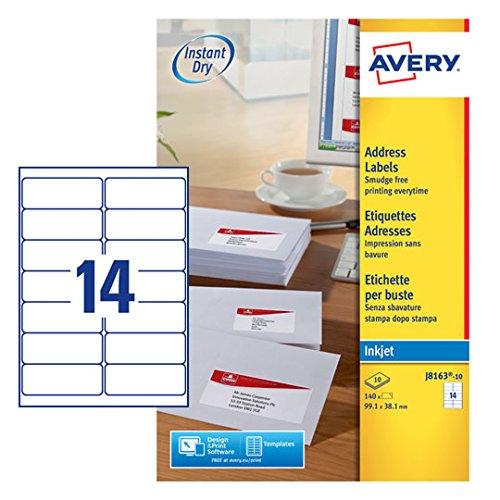 Avery Adressetiketten für Tintenstrahldrucker